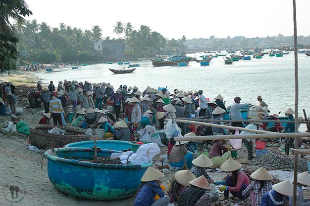Mujeres limpiando la pesca