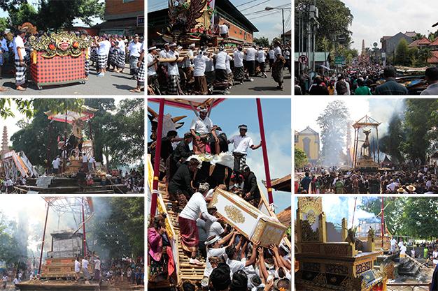 Escenas del ritual y celebración de un funeral real balinés