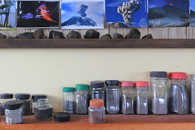 Muestrario de cenizas del volcán Tungurahua