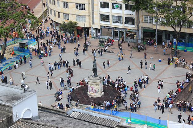 Vista de pájaro al centro de Bogotá