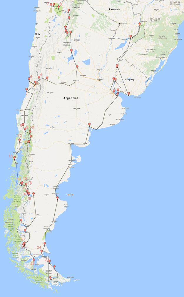 Mapa recorrido Chile