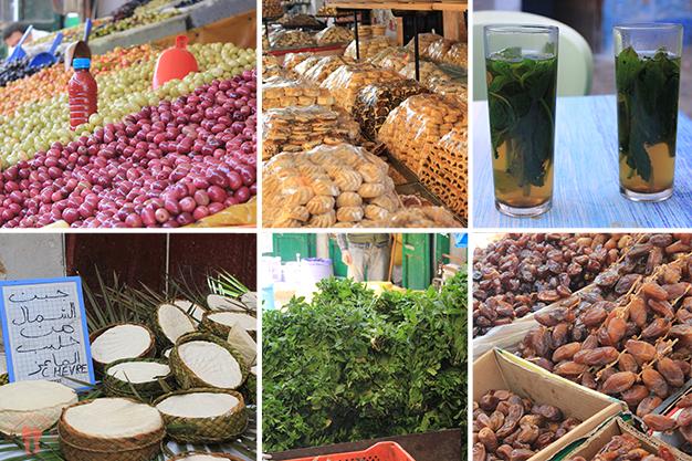 Mix de alimentos sabrosos típicos de Marruecos