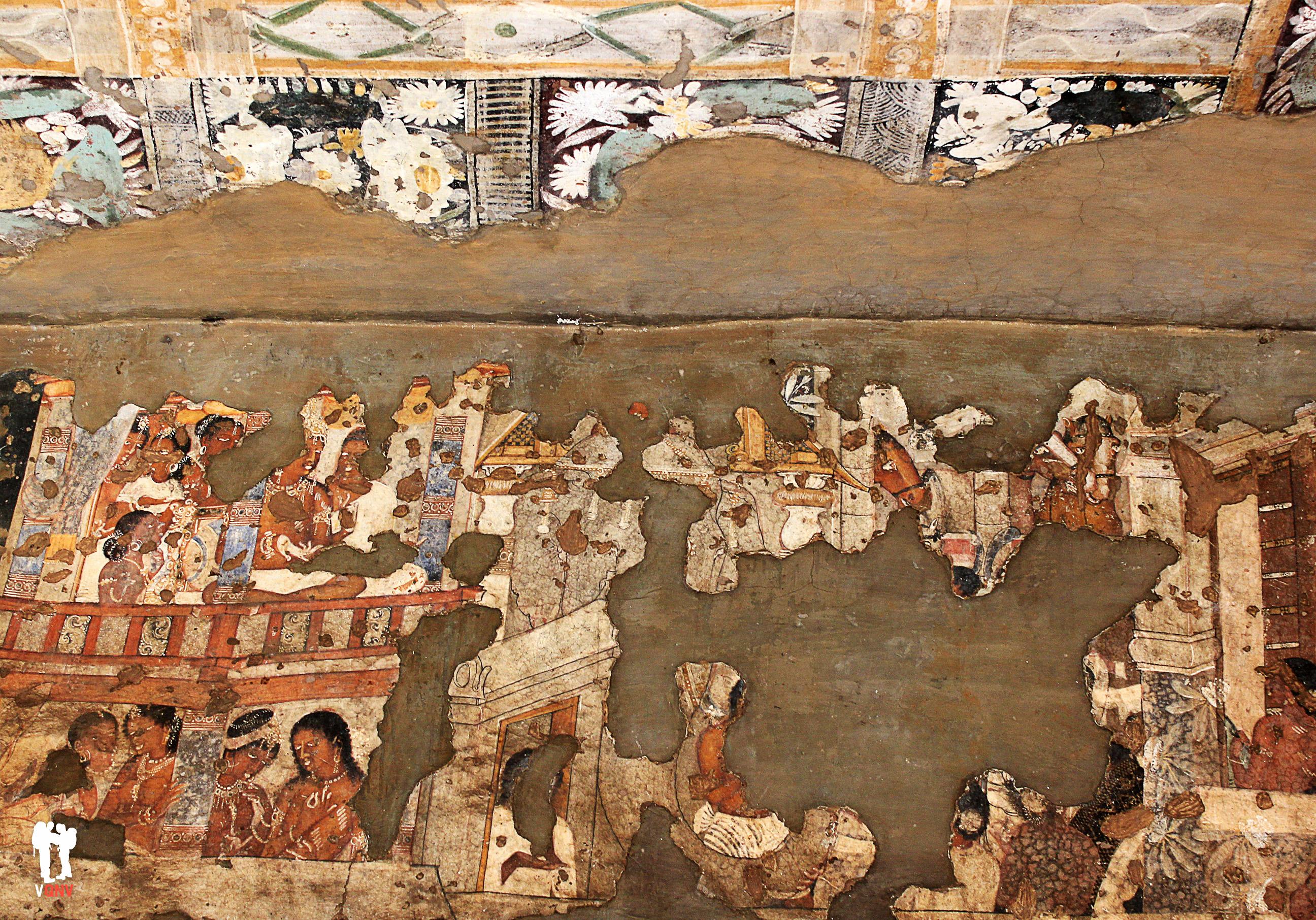 Pinturas bien conservadas en las cuevas de Ajanta